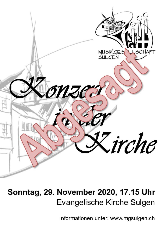 Absage Kirchenkonzert