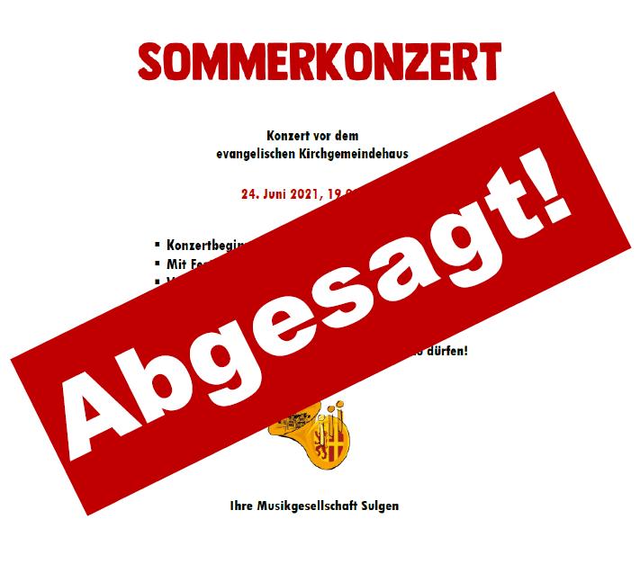 Sommerkonzert abgesagt!